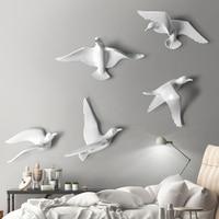 5 шт. Европейский настенный светильник с птицами из смолы, украшение для дома, гостиной, дивана, телевизора, 3D стикер на стену, художественное...