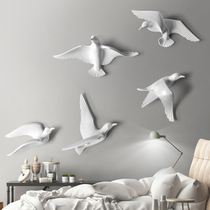 5PCS European Resin Birds Wall