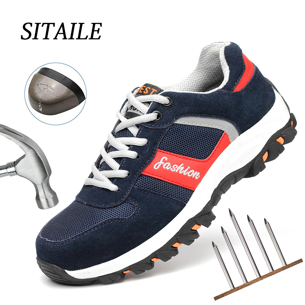 SITAILE Puncture Proof Men Shoes Breathable Work Shoes Indestructible Safety Shoes Steel Toe Safety Boots