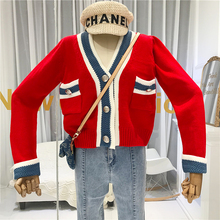 V-Neck Red Cardigan Fashion Women's Free Knitted Sweater Cardigan Female Winter Warm Women's Sweaters with Long Sleeves