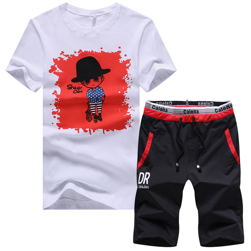 Cross Border FOR MEN'S Sport Suit Summer Printed Casual Sports Clothing Teenager Short Sleeve MEN'S T-shirt Two-Piece Set
