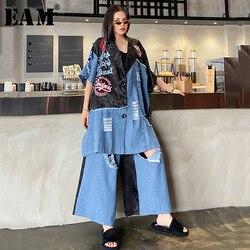 [EAM] широкие брюки с принтом, джинсовый костюм из двух предметов, новинка, отворот, половина рукава, черный, свободный крой, Женская мода весна...