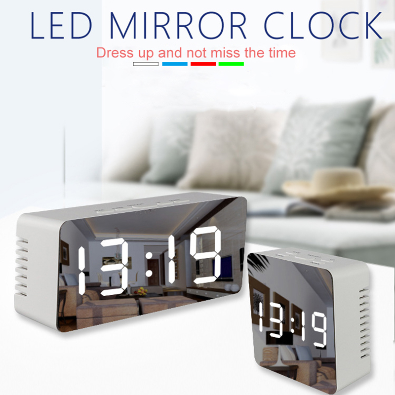 LED Mirror Alarm Clock with Dimmer and Snooze Function along with Temperature Display for Bedroom Office and Travel 4
