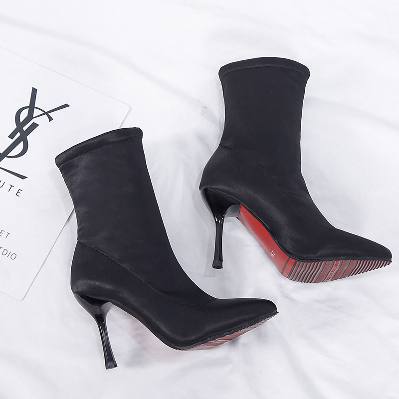 Image 5 - 2019 Sock Boots Winter Comfortable Womens Ankle Booties Fashion High Heel Shoes Ladies Party Wedding Boots Sock Keep Warm ShoesAnkle Boots   -