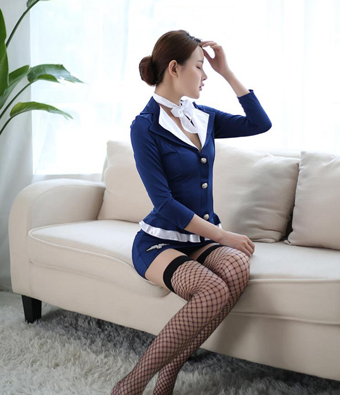 Flight Attendant Role Play Erotic Cosplay Uniform Costume Sexy Lingerie Porno Air Hostess
