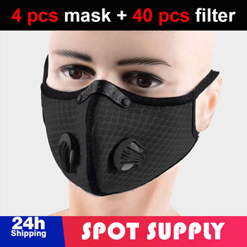4 pcs Bicycle Mask PM2.5 Dust Mask Outdoor Sport Protective with 40 pcs Activated Carbon Filter Training Mountain Bike Riding