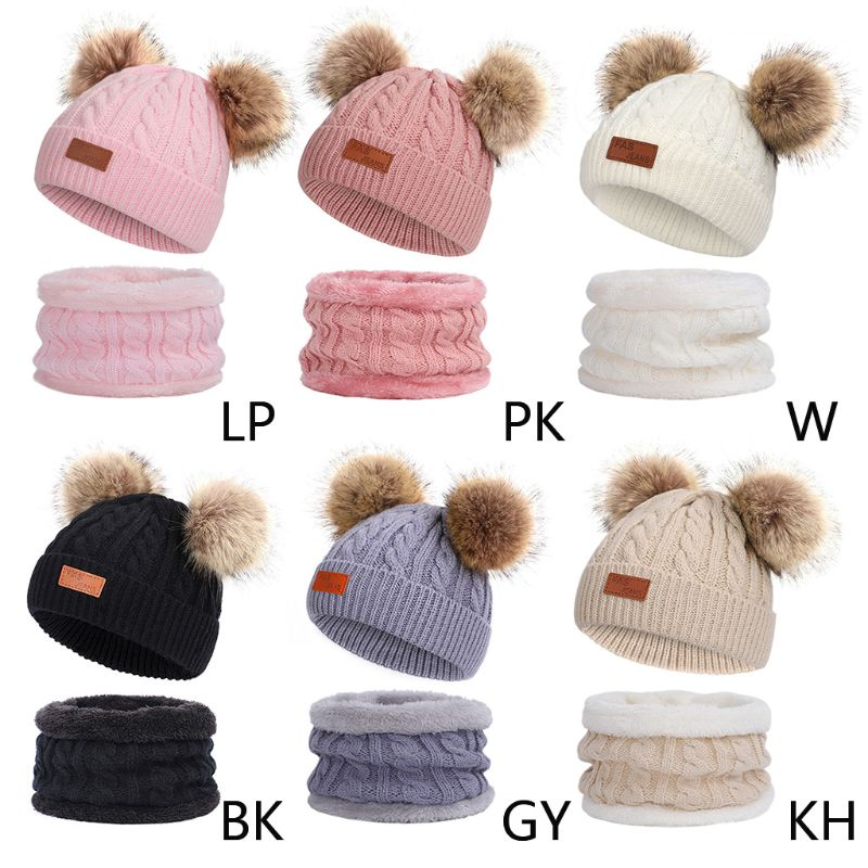 Kids Winter Beanie Hat Infinity Scarf Set Cute Fluffy Pompom Cap Neck Warmer Beanie Hat Infinity Scarf