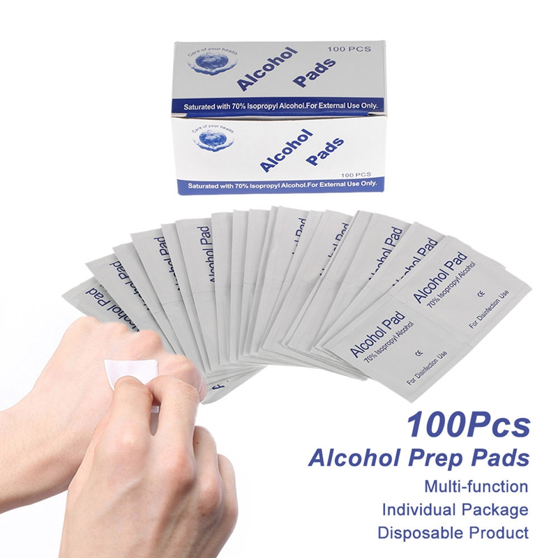 100Pcs/Lot Portable 6 X 3Cm Alcohol Swabs Pads Wipes Antiseptic Cleanser Cleaning Sterilizations First Aid Home Makeup