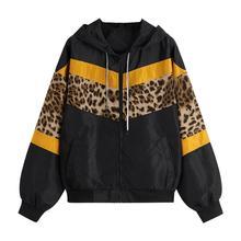 Женский длинный рукав Леопардовый принт тонкая с капюшоном на молнии стеганая кофта пальто Женская мода спортивные куртки для бега с карманами