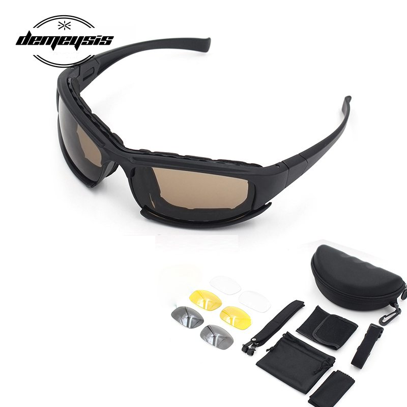 Photochromic Sunglasses Polarized Military Tactical Glasses 4 Lens Airsoft Goggles Shooting Glasses Motorcycle Hiking Goggles