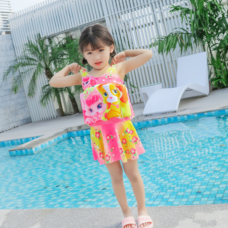 CHILDREN'S Buoyancy Swimsuit Girls Baby Cute Cartoon Dress-Deconstructable Floating Cotton Beginner Swimming Swimwear