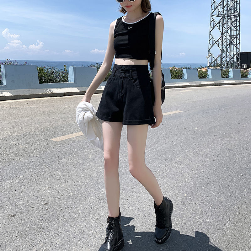 High Waisted Blue Wide Leg Women's Denim Shorts Classic Vintage Casual Female 2021 Summer Ladies Short Jeans for Women Y764 3