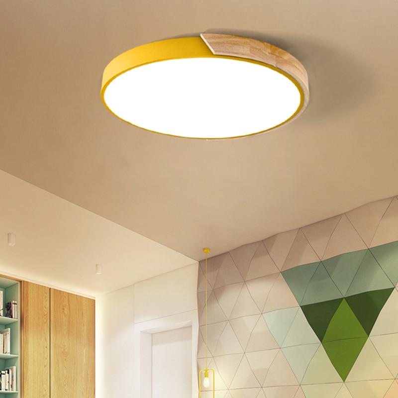 Ультратонкий Светодиодный потолочный светильник в скандинавском стиле, круглый потолочный светильник из акрила и дерева с дистанционным у...