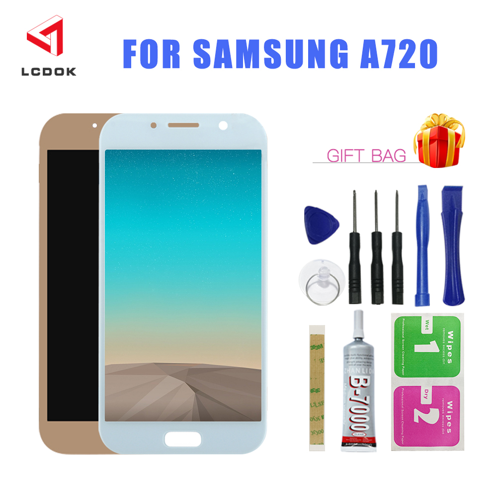 Adjustable Brightness <font><b>LCD</b></font> For <font><b>Samsung</b></font> Galaxy A7 2017 <font><b>A720</b></font> A720F A720M A720Y <font><b>LCD</b></font> Display Touch Screen Digitizer Assembly Panel image
