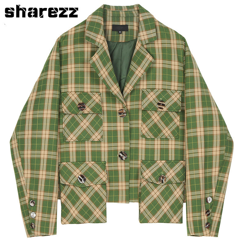 Spring Autumn 2020 Women Tops Green Plaid Split Big Size Blazer New Lapel Long Sleeve Loose Fit Jacket Fashion Tide Korean