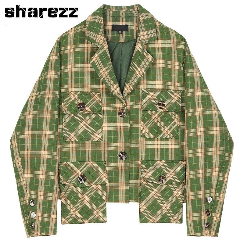 Spring Autumn 2020 Women Tops Green Plaid Split Big Size Blazer New Lapel Long Sleeve Loose Fit Jacket Fashion Tide Korean