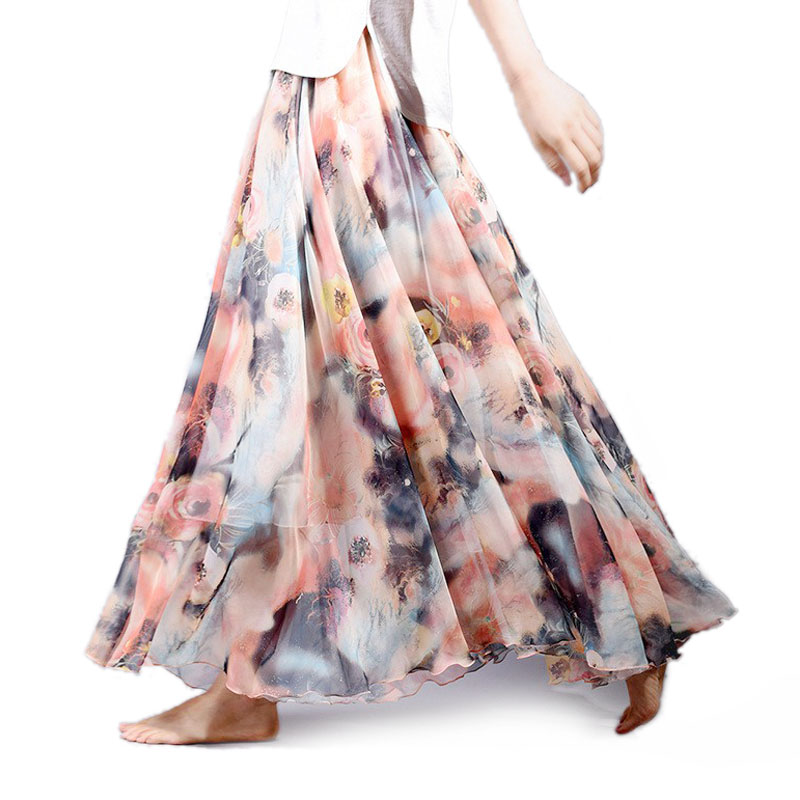 Women Fashion Florals Print Long Skirt Female Boho Style Elastic High Waist Chiffon Casual Beach Skirts Saias 19 Color Summer 2