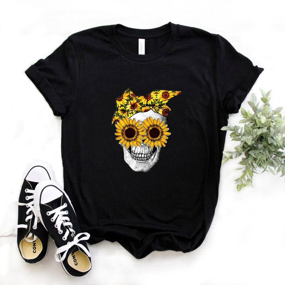 Bandana Skull Sunflower Print Women Tshirt Cotton Casual Funny T Shirt Gift For Lady Yong Girl Top Tee 6 Color PM-110