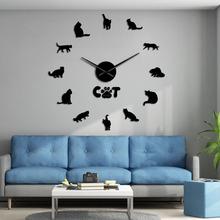Amerykański krótkowłosy kot nowoczesny zegar ścienny diy lustrzany efekt kot zegar zestawy numery z dużą igłą kot zwierzę domowe rasy ścienny zegar dekoracyjny tanie tanio The Vinyl Clock Akrylowe Salon Streszczenie Igła Antique style Zegary ścienne Pojedyncze twarzy Oddziela circular Krótkie