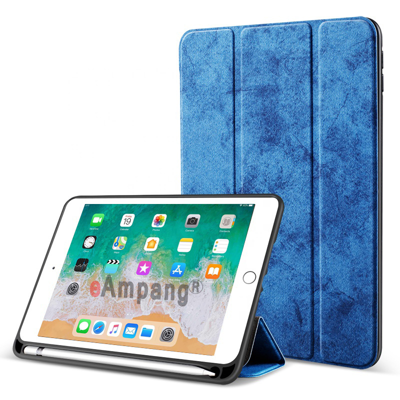 Dark Blue White For iPad 10 2 2019 Case with Pencil Holder for Apple iPad 7 7th Generation A2197