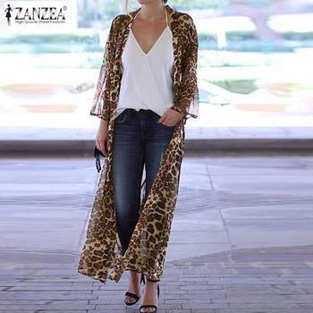 Bohemian Leopard Printed Kimono Cape Women Chiffon Blouse ZANZEA Summer Cardigans Female Long Sleeve Blusas Plus Size Tunic 7 women s lace patchwork blouse zanzea sexy transparent tops casual long sleeve summer blusa female lapel tunic plus size tunic 7