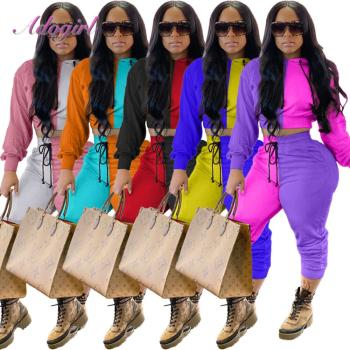 Women Fitness Two Piece Sets Color Block Long Sleeve Crop Tops Hoodies Sweatshirt Drawstring Stacked Pants Suit Jogger Tracksuit