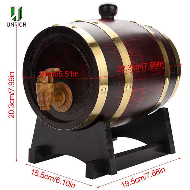 UNTIOR-barril de madera de roble Vintage, 1,5/3L, herramientas de elaboración de cerveza, dispensador de grifo para Ron Pot, Whisky, vino, Mini Bar, herramientas de cerveza casera