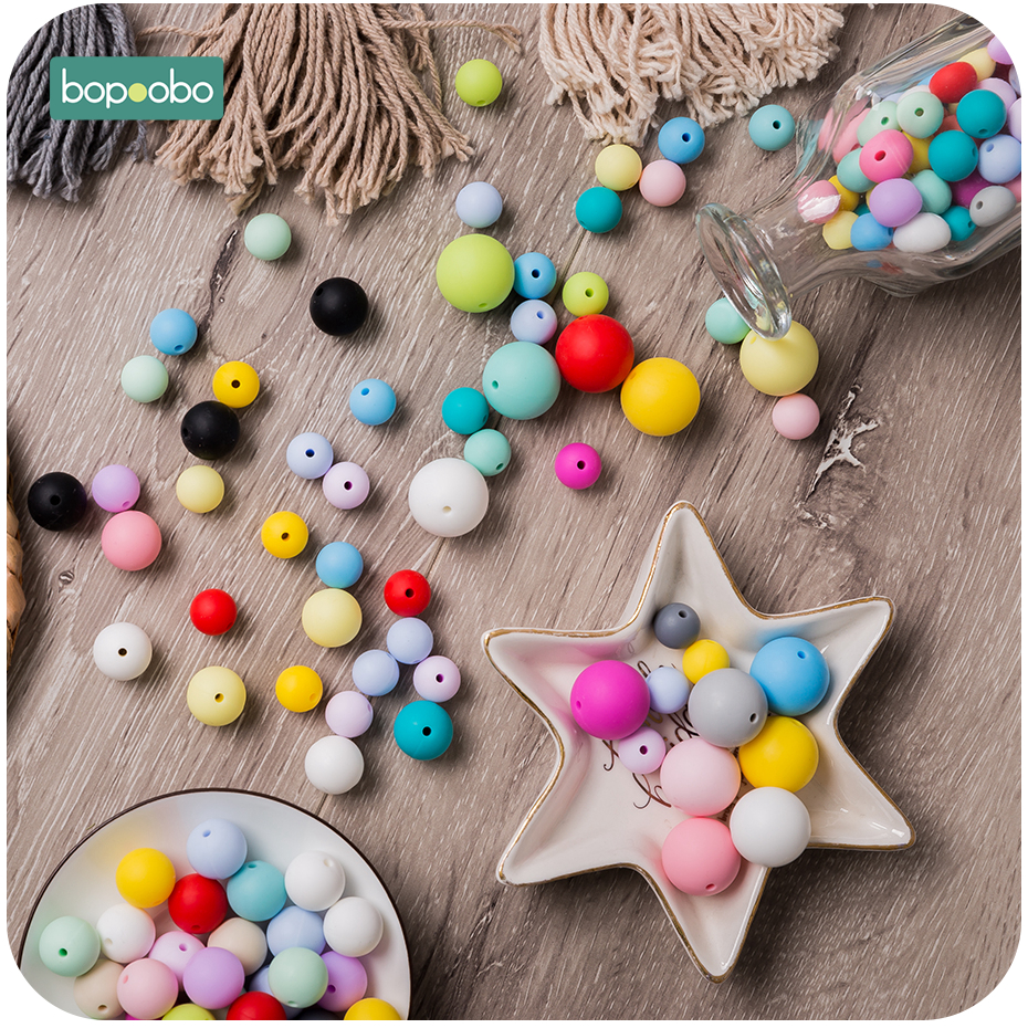 Bopoobo 200pc Baby Teething Food Grade Silicone Beads 12mm Chewable Products Diy Necklace Pendant Beads BPA Free Baby Teether