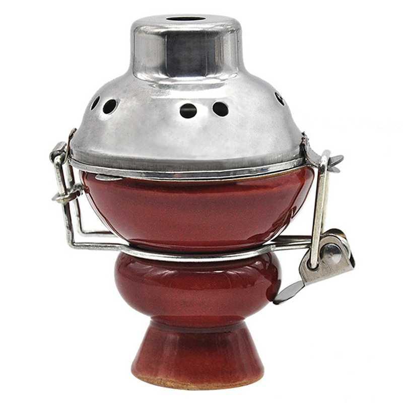 1 pc combinado argila shisha hookah tigela copo superior vitrificado cerâmica com metal windcover carvão tela tampa de aço inoxidável