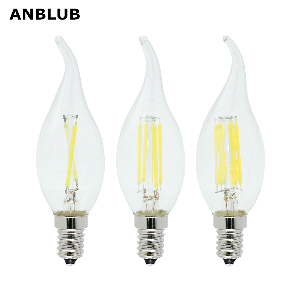 ANBLUB Dimmable Lamp 220V 2W 4W 6W LED Filament Chip E14 Edison Candle Light Bulb Retro Tungsten Chandelier Lighting