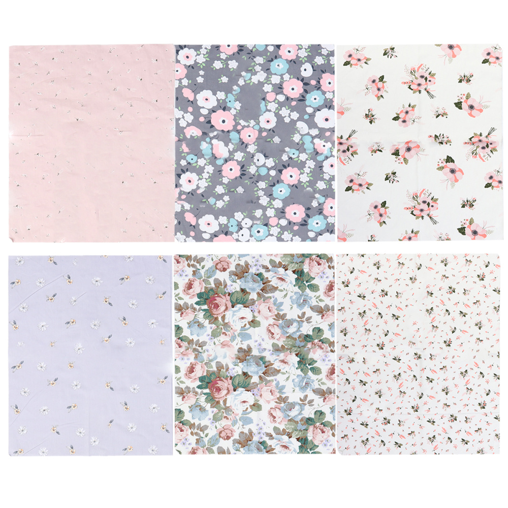 6pcs Cotton Cloth Fabric Craft Squares Sewing Flower Printing Fabric Sheets For DIY Patchwork (50x40cm Pink)