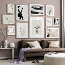 Magnolia Fiore Nero Ragazza Citazioni di Arte Della Parete della Tela di Canapa Pittura Nordic Poster E Stampe di Immagini UN Par