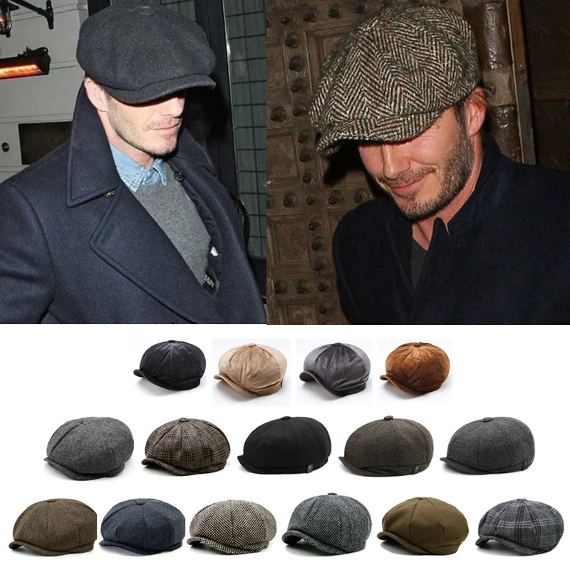 Men Octagonal Hat Winter Wool Hat Gatsby Cap Ivy Hat Women Flat Cabbie Newsboy Cap Plus Size Felt Beret Cap 56 To 64cm