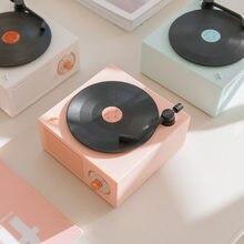 Retro bluetooth alto-falante vinil record player bluetooth 5.0 alto falantes sem fio mini portátil tf aux áudio mp3 multifuncional