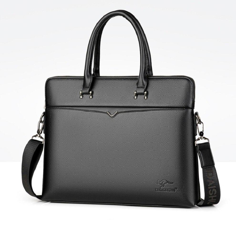 Men's Handbag Official Briefcase A4 Document Business Bag Laptop PU Leather Bag Ipad Bag Trend
