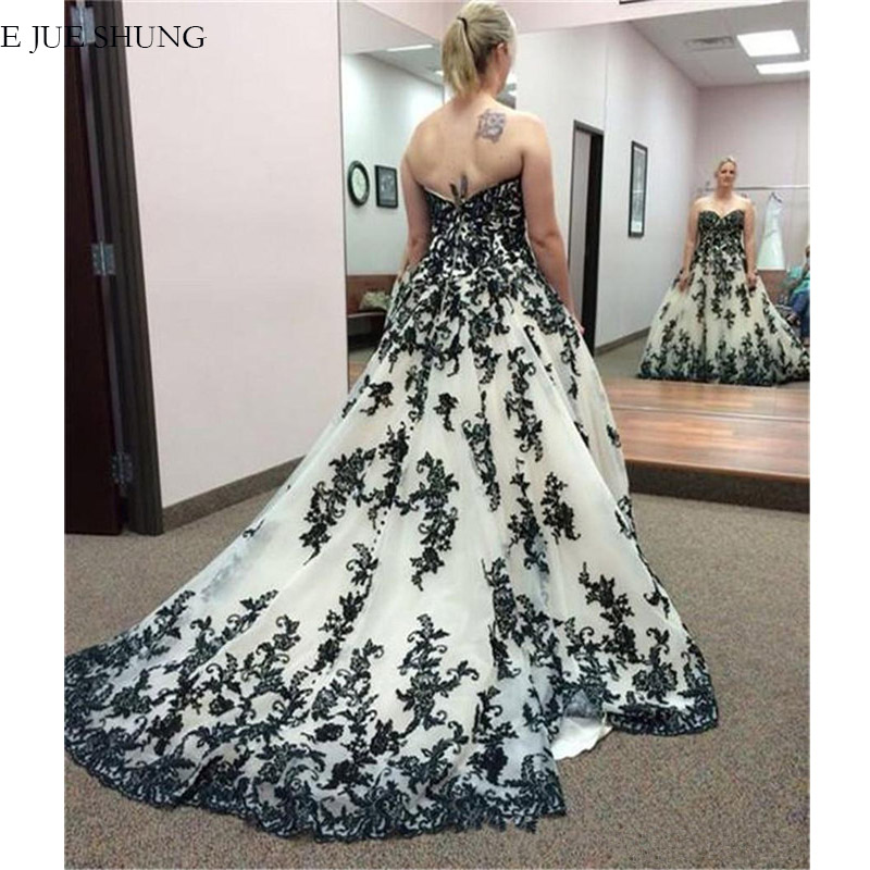 E JUE SHUNG White And Black Lace Appliques Wedding Dresses Sweetheart Ball Gown Wedding Gowns Bride Dresses