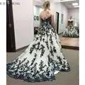 E JUE SHUNG blanco y negro Apliques de encaje vestidos de novia vestido de baile de novia vestidos de novia