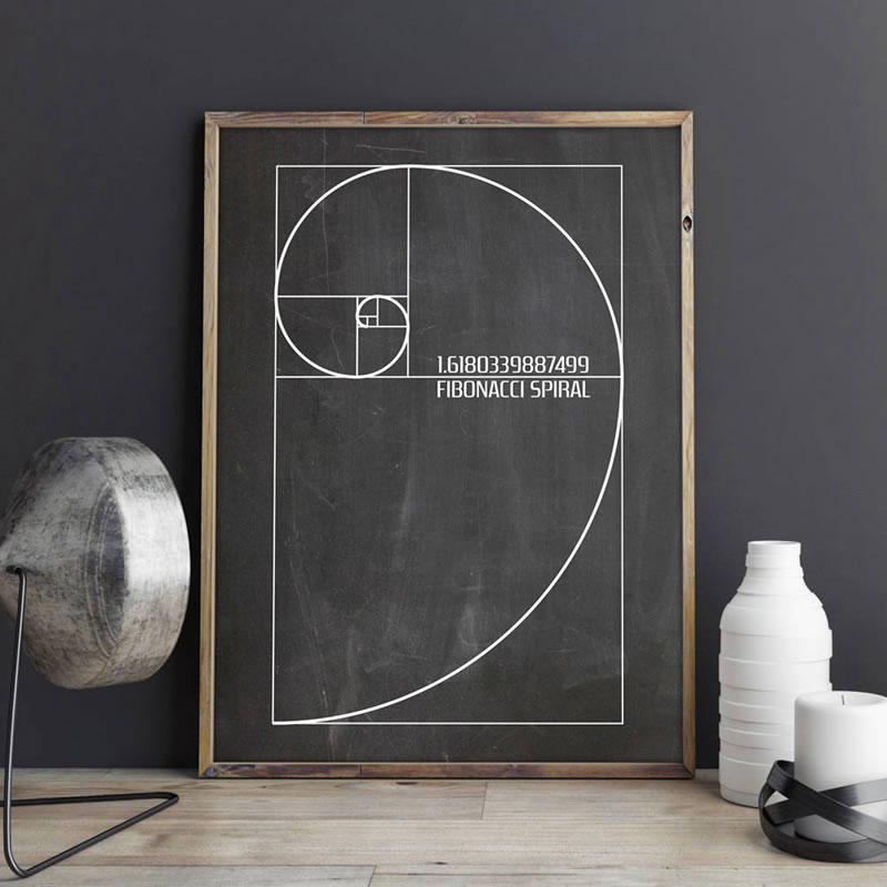 <font><b>Fibonacci</b></font> Spiral Patent Wall Art Canvas Painting Golden Ratio <font><b>Posters</b></font> And Prints Vintage Blueprint Gift Idea Science Decoration image