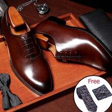Hombres cuero de vaca genuino brogue boda negocios hombres casual zapatos planos 2019 negro vintage oxford zapatos para zapatos de hombre