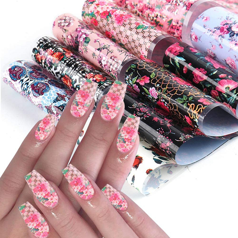10pcs Nail Art Foil Transfer Stickers Nail Decals Holographic Design for Nails Supply Manicure Tips Wraps