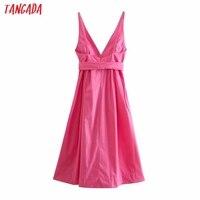 Tangada Women Pink Cotton Dress Back Bow Sleeveless Backless 2021 Summer Fashion Lady Dresses 3H130 6