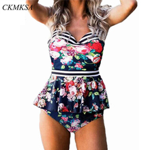 2019 Vintage Floral Stripe Print Push Up Bikini Women Swimwear Brazilian Swimsuit Sexy Ruffle Tankini Bathing Suit Plus Size 3XL