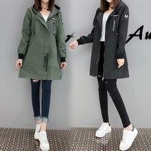 Spring Autumn Trench Coat Women Causal Long Sleeve With Hood Medium Long Army Green Female Coat Casaco Feminino Coats
