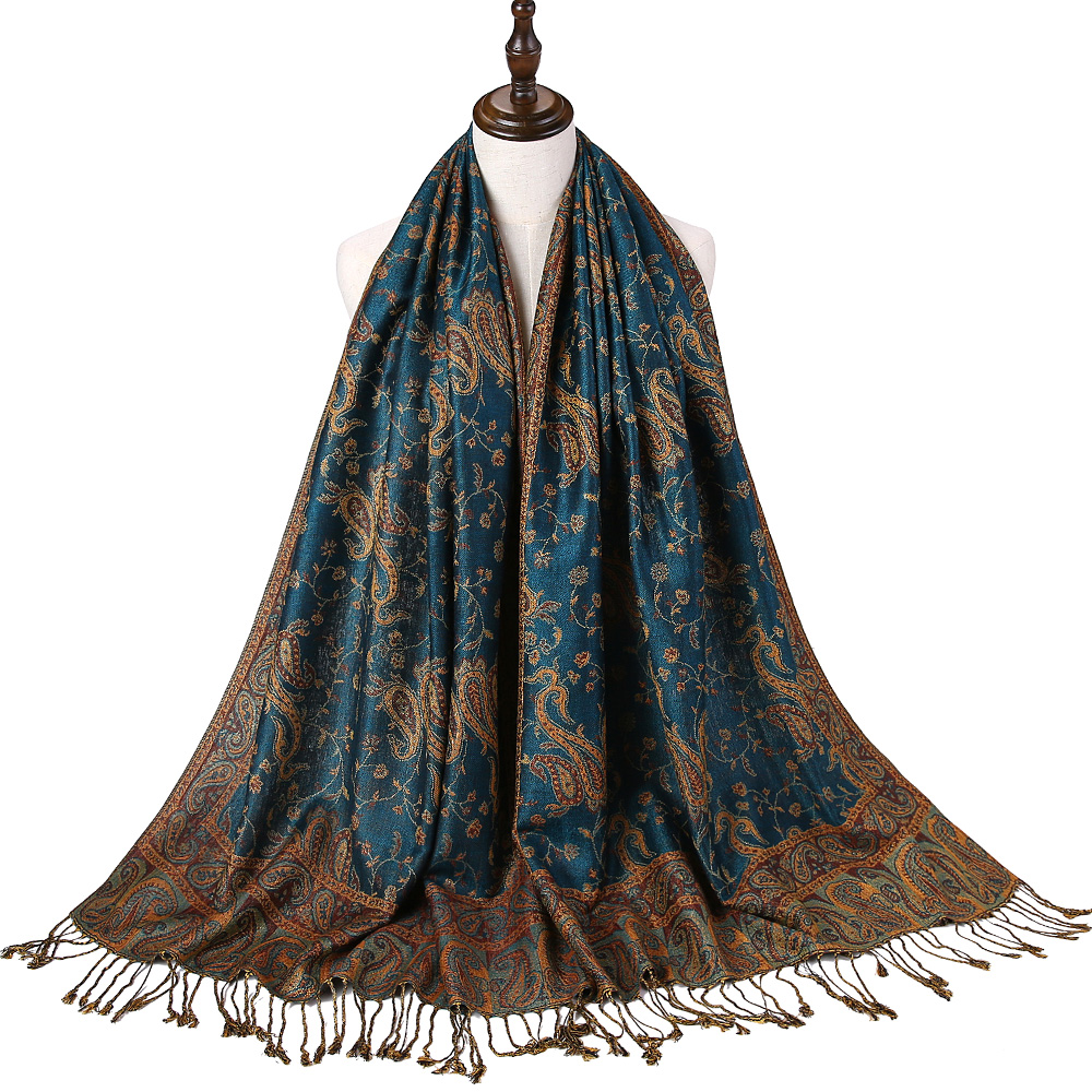 Pashmina Silk Scarf Shawl Wrap Paisley Jacquard Flowers Borders Rave 2 Layers Reversible Classic Tassels For Women 70X180cm 200g