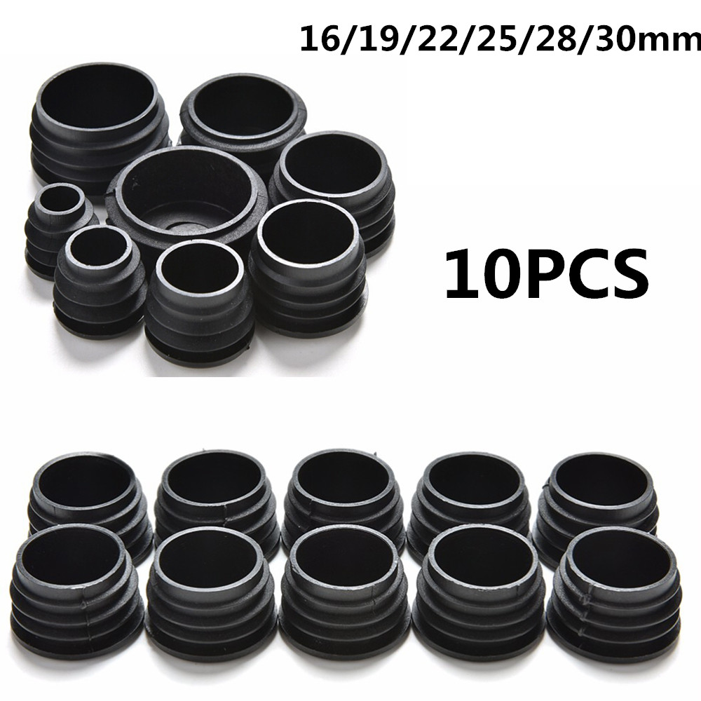 10 Buah/Banyak Hitam Perabotan Kaki Plug Kosong END CAP Bung untuk Round Pipe Diameter Tabung 16/19/22 /25/28/30 Mm title=