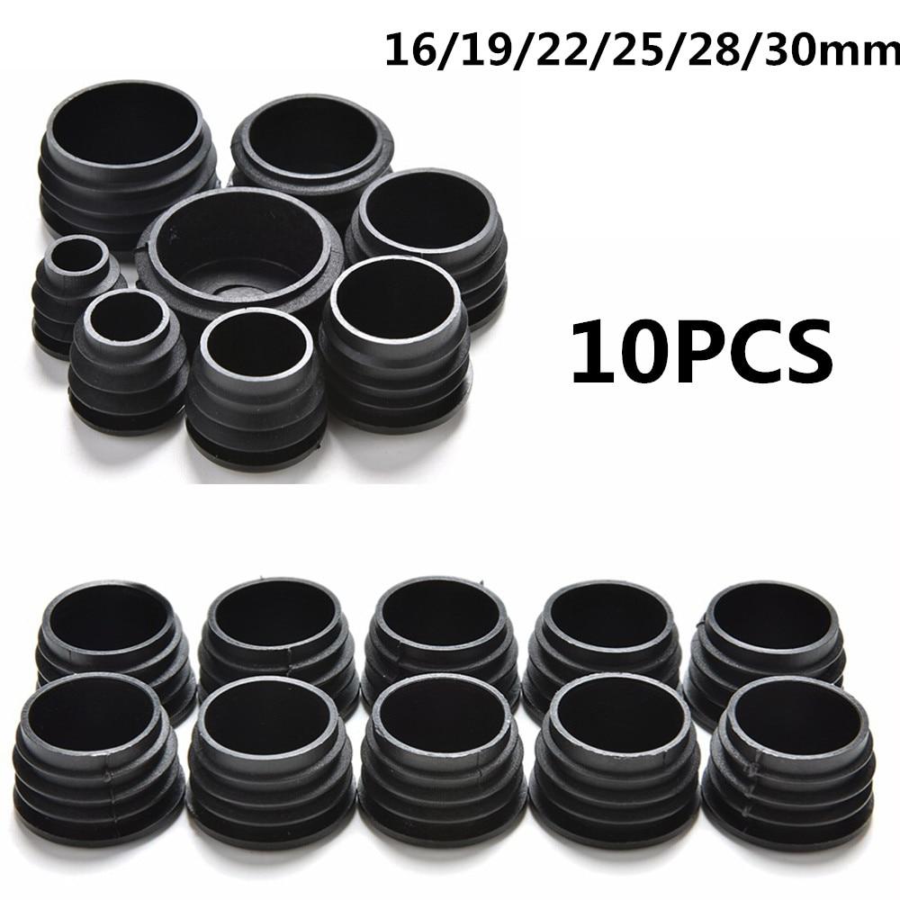 10Pcs/lot BLack Furniture Leg Plug Blanking End Cap Bung For Round Pipe Tube Diameter 16/19/22/25/28/30mm