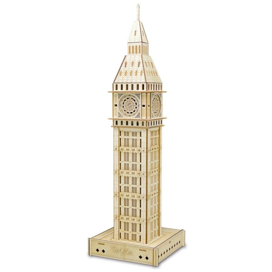 O grande ben diy 3d madeira quebra-cabeça woodcraft conjunto kit de corte brinquedos de madeira para o presente natal 3130