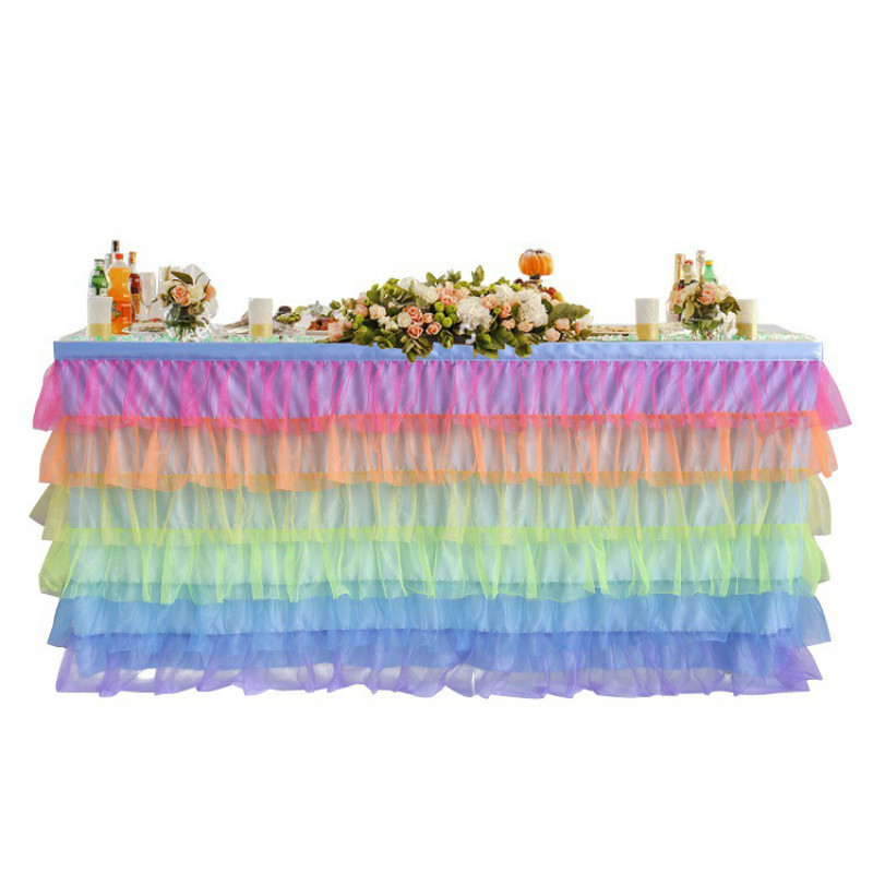 Rainbow Colorful Table Skirt Birthday Festival Family Party Hotel Dinner Tableware Decoration Baby Shower Home Textile