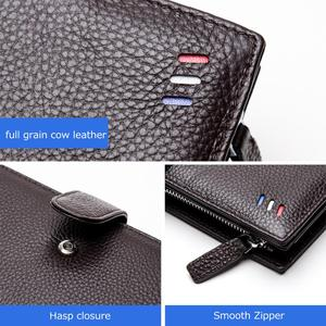 Image 4 - BISON DENIM Luxury Brand Men Long Wallet Card Holder Cowskin Mens Purse Zipper Pocket Quality Male Clutch Genuine Leather N8206