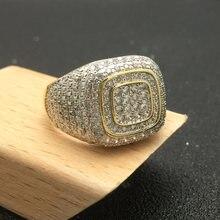 Мужское кольцо с фианитом золотое/серебряное для помолвки и